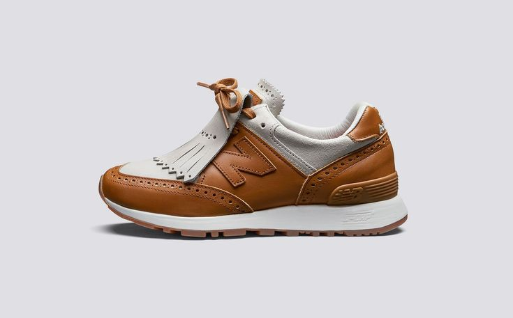 Grenson x New Balance | W576GTW Womens Sneaker in Lamb Roughout Suede and Tan Calf Leather on Rubber Sole | Grenson Shoes - Side View