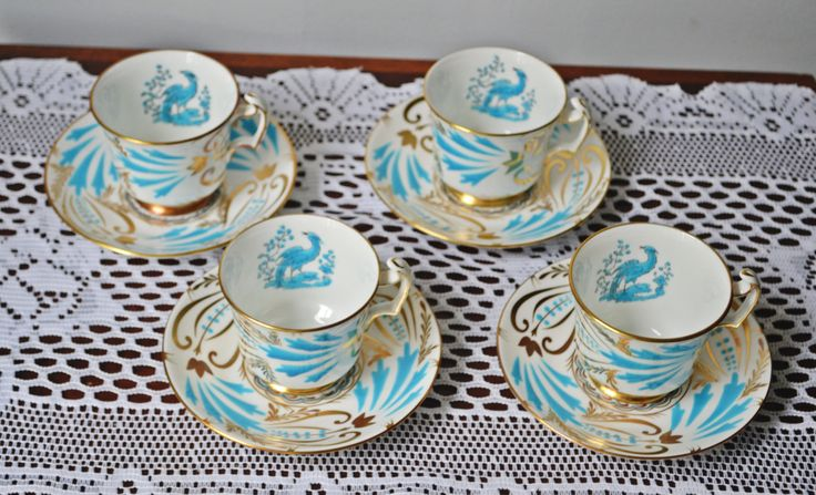 Four Royal Chelsea Demitasse Cups And Saucers, Blue Bird, Bird Of Paradise by Collectitorium on Etsy
