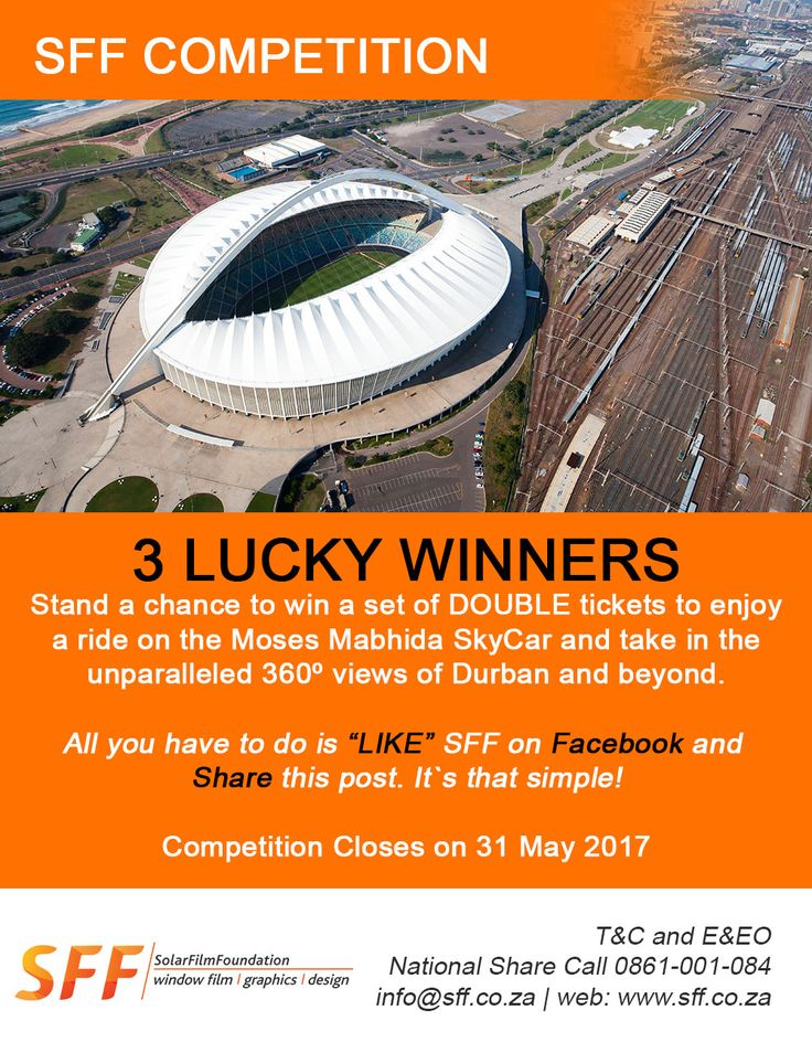 "SFF Competition: 3 Lucky Winners stand a chance to win a set of Double Tickets to enjoy a ride on Moses Mabhida Skycar and take in the unparalleled 360 view of Durban and beyond. All you have to do is ""Like"" SFF on Facebook (http://ow.ly/3tmB30bAyd0) and Share this post. Competition closes on 31 May 2017. Good Luck"