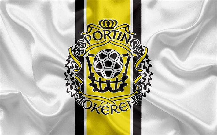 Download wallpapers Lokeren FC, 4k, Belgian Football Club, logo, emblem, Jupiler League, Belgium Football Championships, Lokeren, Belgium, football, silk flag