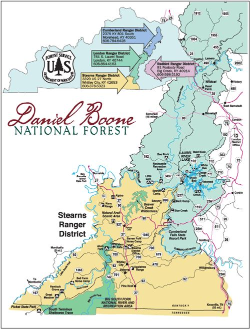 Daniel Boone National Forest - Stearns Ranger District Map