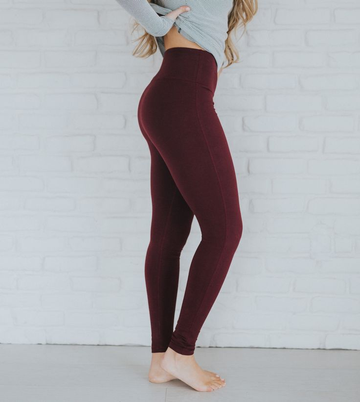 Can you say high waisted? These NEW {Wine Extend Leggings} are so soft, so comfortable and so chic! Perfect for any occasion. | @albionfit