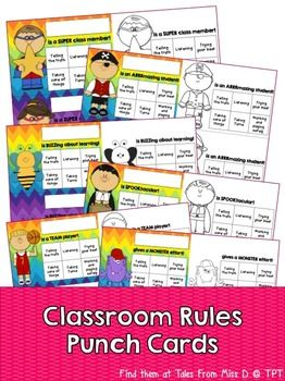 These punch cards can be used to reward your students for following classroom rules. There are 6 designs an each design comes in colour and a b&w version. Each card contains six boxes; * Telling the Truth * Listening * Trying our Best * Taking Turns * Taking Care Of Things * Working and Playing Safely Simply stamp a box when a student displays the behaviour.