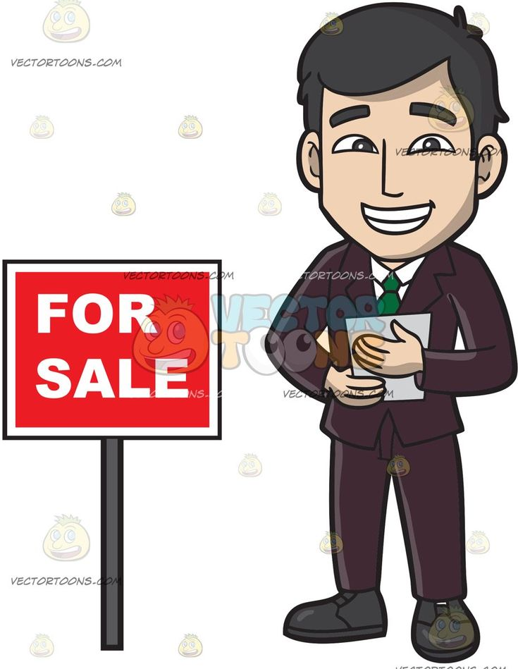A Male Real Estate Agent Trying To Sell A House:   A man with black hair wearing a dark violet suit white dress shirt green necktie black shoes grins while holding a gray paper in his hands as he stands beside a red for sale sign