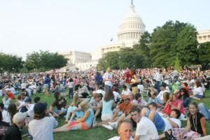 Fireworks Pictures - National Mall Independence Day: Crowd on the Capitol Grounds