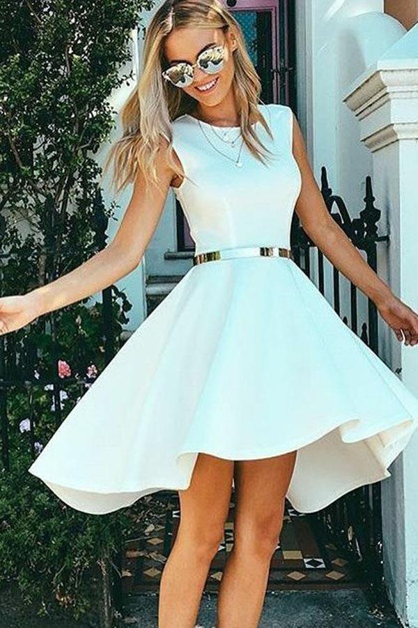 Simple High Low Homecoming Dress,Sleeveless White Satin Short Prom Dress