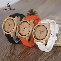 Бобо птица B08 роскошные часы женские древесины бамбука кварцевые часы с красочными силиконовые бретели Relojes Mujer Marca de Lujo 2017