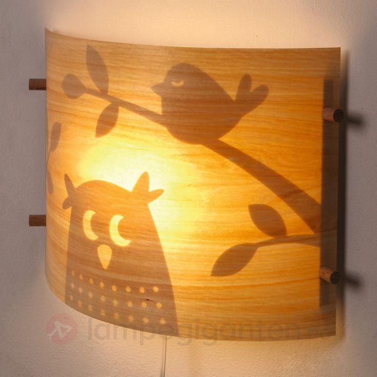 Vegglampe av tre til #barnerommet