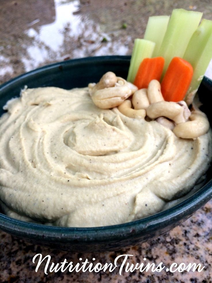 Creamy Cashew Hummus & a Fat Loss Tip   Creamy, Delicious   Only 55 Calories   For MORE RECIPES, fitness & nutrition tips please SIGN UP for our FREE NEWSLETTER www.NutritionTwins.com