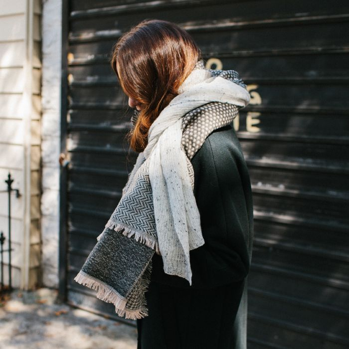 noticed: layering two scarves. our friend taryn is wearing the madewell city grid coat, cashmere mistweight scarf, and houndstooth patchwork scarf.