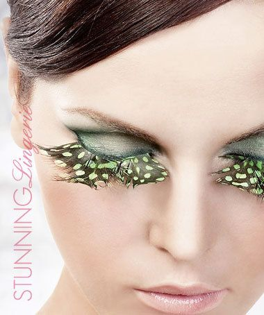 Baci Lingerie Brown-Green Feather Eyelashes
