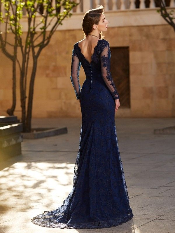 eb71096a53a Trumpet Mermaid V-neck Long Sleeves Applique Sweep Brush Train Lace Dresses