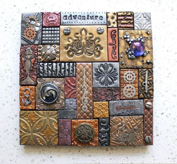 Polymer Clay Tile Mosaic Steampunk 6 X Emblage Mixed Media I Could Use Fabric