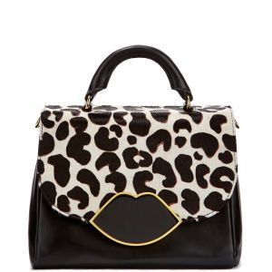 Lulu Guinness Small Izzy Leather Satchel - Stone Leopard: Image 01