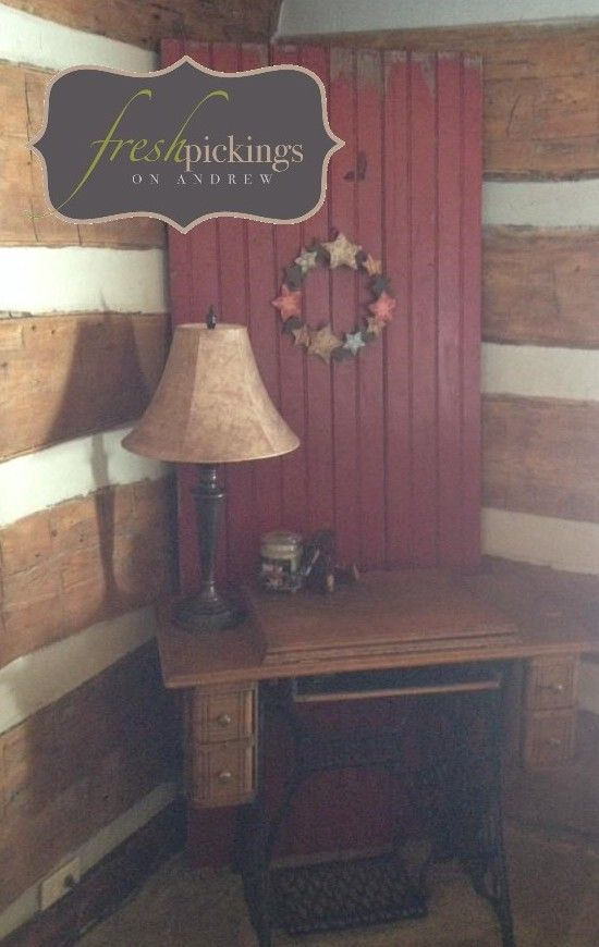 I hauled this old red barn style door all the way home from the cottage. It found a new home @ Joanna W's log house. Perfect piece to re {fresh} with decor as the seasons change :)