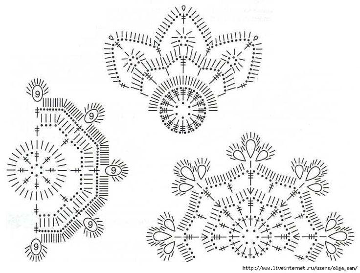 схема вязания снежинок