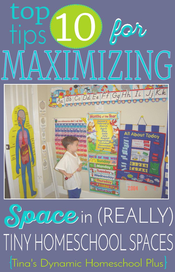 Top 10 Tips for Maximizing Space in (Really) Tiny Homeschool Spaces. Improvising and finding inspiration when setting up a learning area in cramped quarters doesn't mean you have to give up style too. Check out these AWESOME tips @ Tina's Dynamic Homeschool Plus