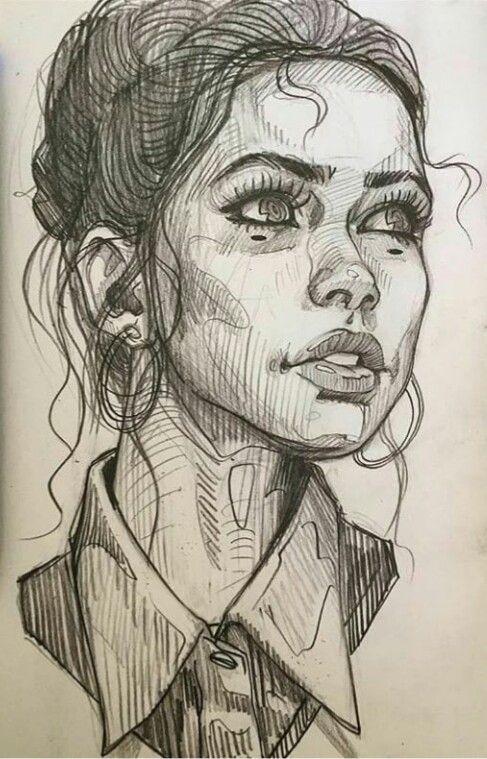 Art Design Illustration Bleistift Portraitzeichnung