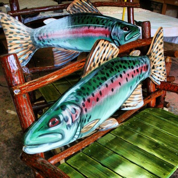 Rainbow Trout Bench, Bass Pro Shops, Rustic Furniture. I Can Make You Any