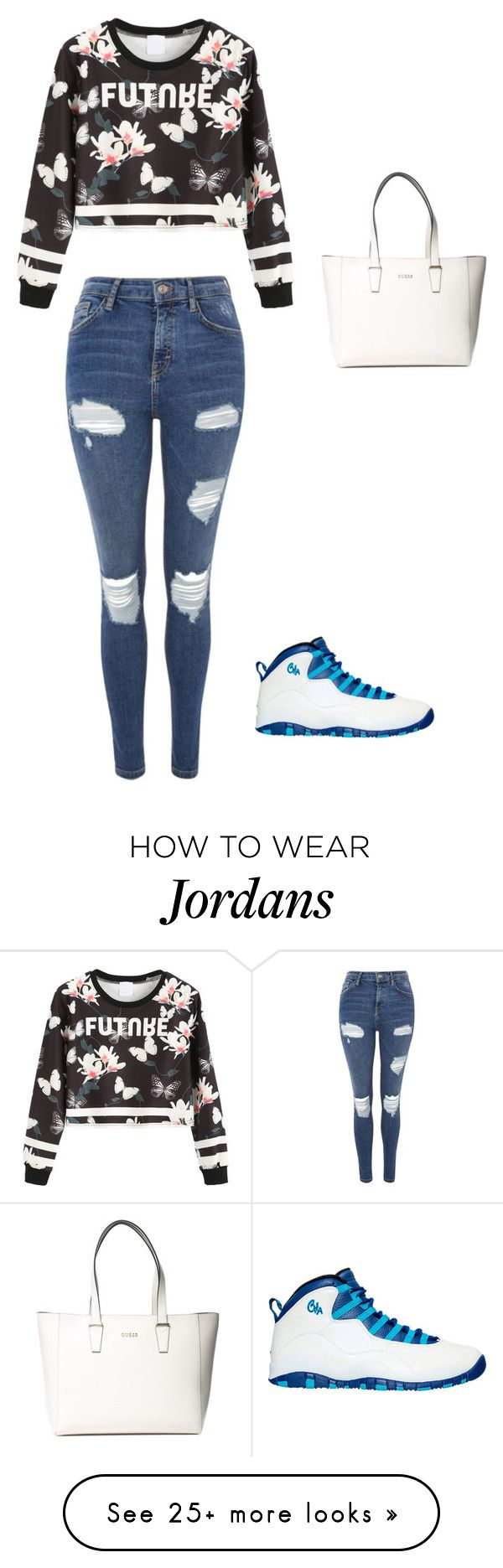"""slayyyyyyy"" by mariska200413693 on Polyvore featuring WithChic, NIKE, Topshop and GUESS"