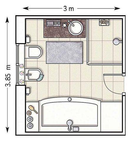 Plano: Un baño amplio de 11,55 m²