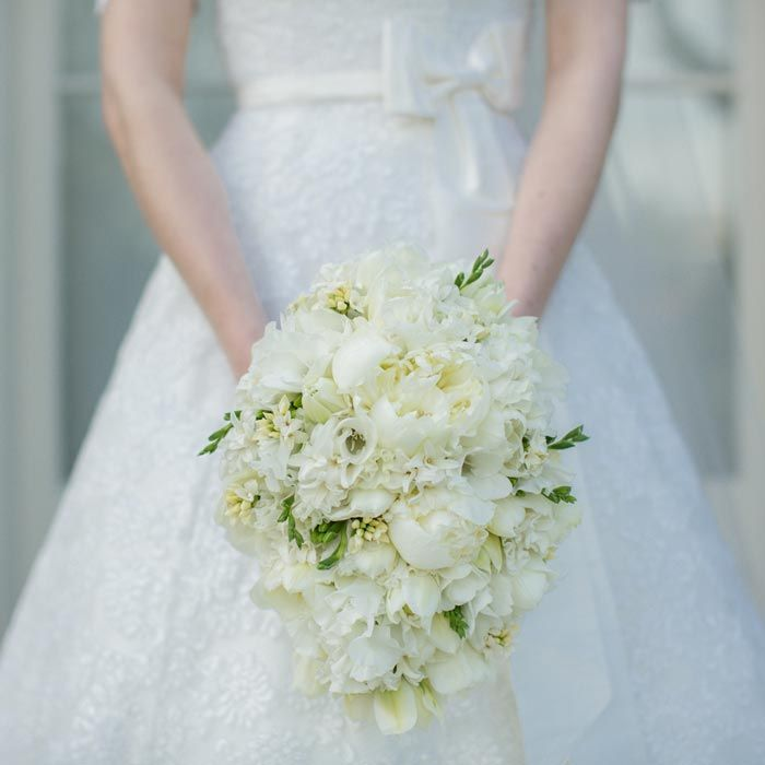 Wedding Bouquet - white sweet peas, freesias, peonies, ranunculus and double tulips. Teardrop bouquet