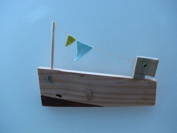 Wooden sailboat wall hanging made from recycled by WoodpeckerPicksWall Hanging