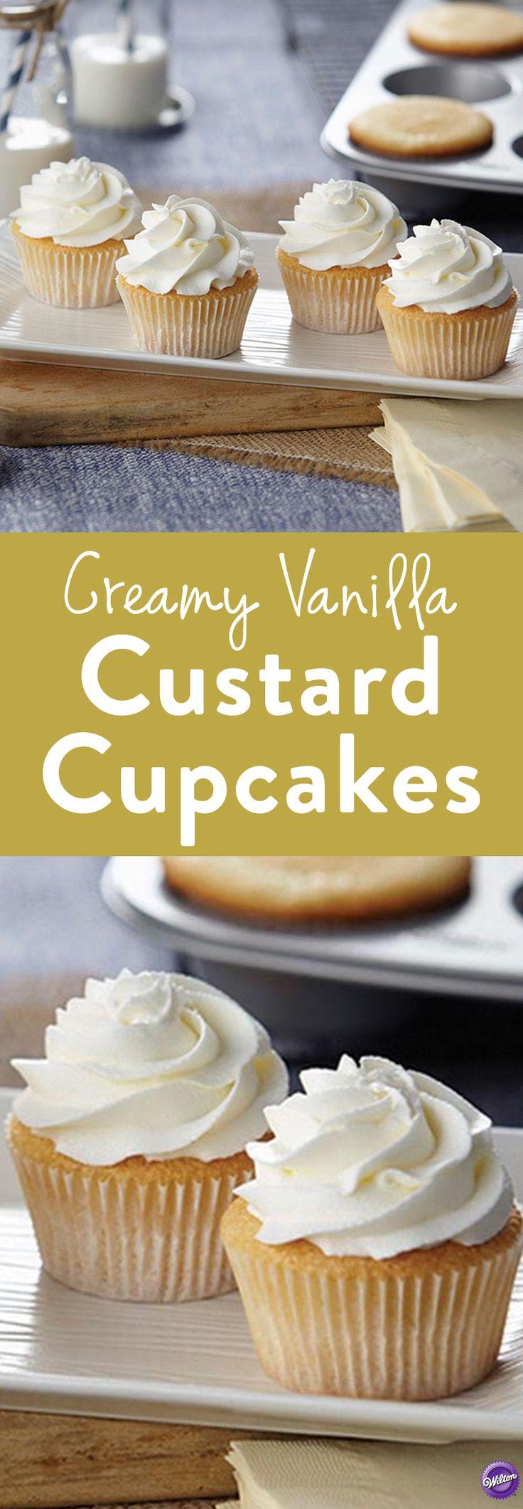 Creamy Vanilla Custard Cupcakes 180 best Sweet