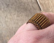 Gold Bronze Ring, Bugle Beaded Ring, Dress Ring, seed bead ring, Unique, Statement Ring, Cocktail Ring