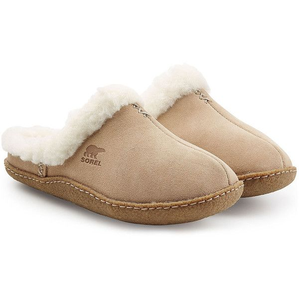 Sorel Shearling Lined Suede Slippers (2,155 THB) via Polyvore featuring shoes, slippers и camel