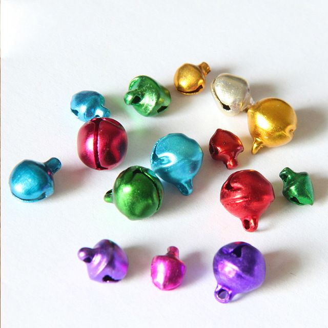 100Pcs /Lot 6/8/10mm Mix Colors Loose Beads Small Jingle Bells DIY Crafts Christmas Decoration Accessories