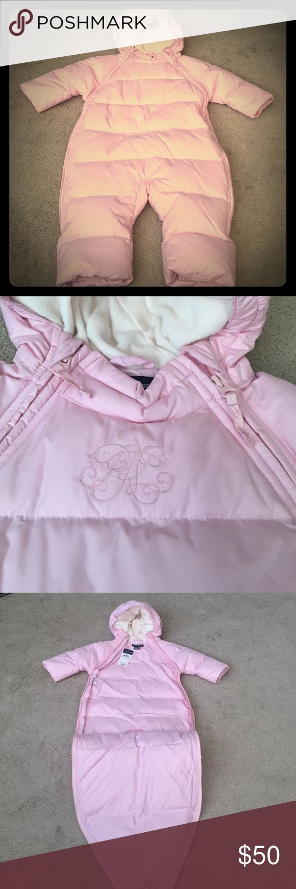 """Ralph Lauren Snow Suit - 12 months New with tags Ralph Lauren snow suit. No flaws. Never used. Size 12 months - 29-30.5"""" / 18.5-23 lbs. Light pink color. Zips down on  sides for easy on/off. Down is 80% down 20% waterfowl feathers. Ralph Lauren Jackets & Coats Puffers"""