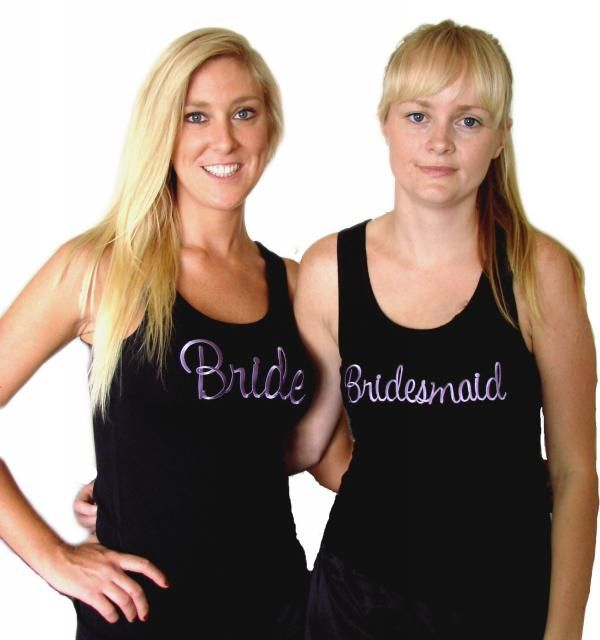 Bridal party singlets with purple embroidery