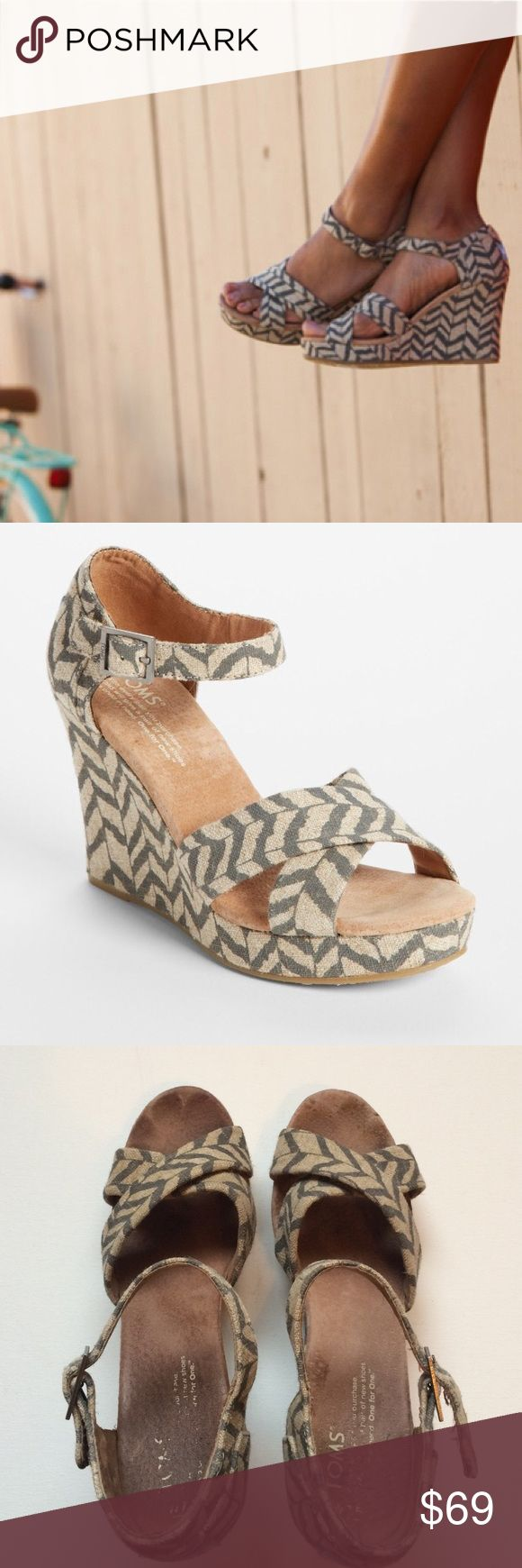 """TOMS Classic - Zebra Zag' Wedge Exotic stripes lend chevron chic to a classically comfy wedge. Approx. heel height: 4"""" with 1"""" platform (comparable to a 3"""" heel). Hemp upper/suede lining/EVA sole. Outer part of the shoe in great condition. Inside and bottom slight wear. Still has lots of life to them. Any other questions just ask. TOMS Shoes Wedges"""