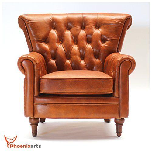 Vintage Echtleder Chesterfield Ledersessel Design Lounge Leder Club Sessel Sofa 549