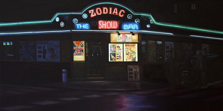 """""""Zodiac (The Show Bar)"""". Óleo sobre tabla. 60x30 cm."""