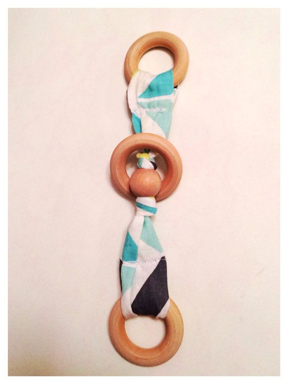 3 ring teething toy Chomping toy baby teether Wood by BelleDakota, $7.00