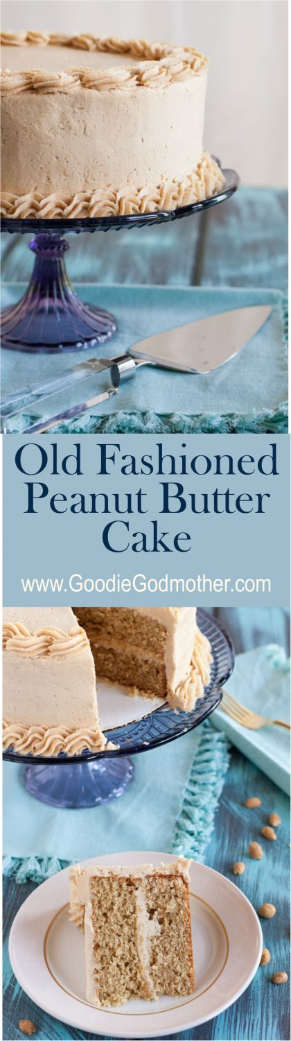 This is the cake for peanut butter lovers! Old Fashioned Peanut Butter Cake with a rich and creamy peanut butter frosting! * http://GoodieGodmother.com