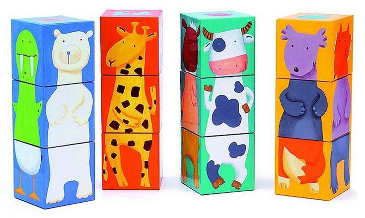 кубики, животные, 12 шт. кубики, пирамидки Djeco