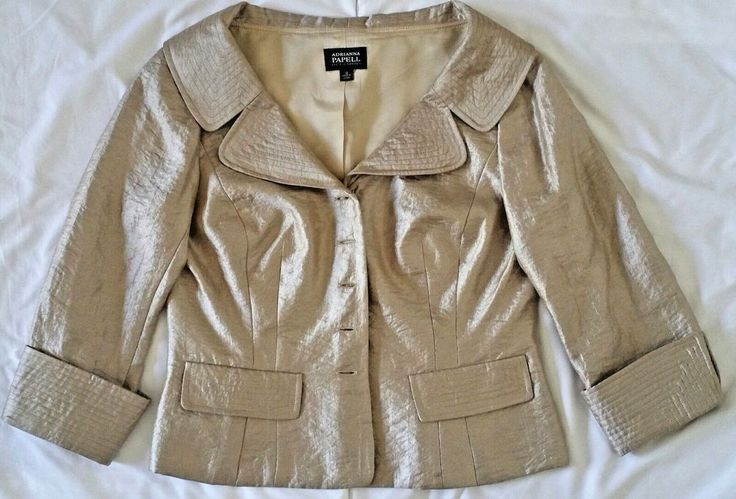 Evening Wear Tops for Women Formal Jacket Petite 12 Gold Dressy Adrianna Papell #AdriannaPapell #BasicCoat #Evening