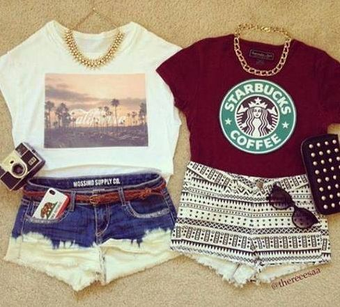 Besides the fact that one of these shirts have Starbucks on it, these are some super cute outfit ideas for a casual day around town....our even for a summer vacation at the beach!