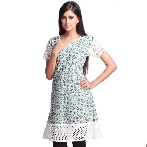 Decent White Block Print Cotton Kurta with Laces #PrintCottonKurtawithLaces