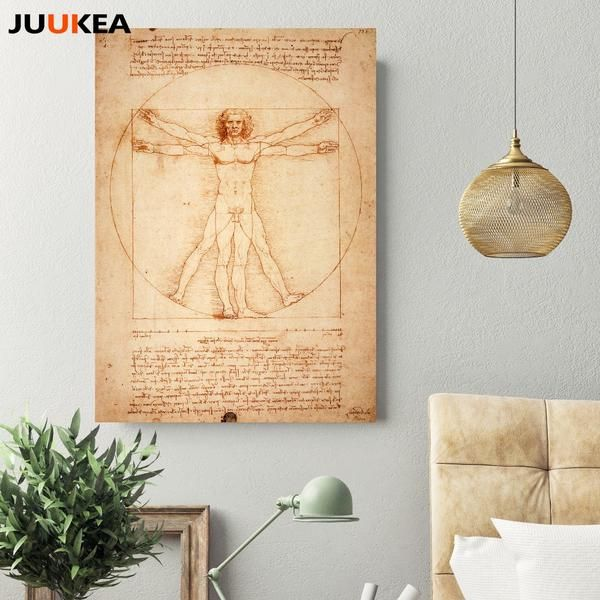Leonardo Da Vinci Homo Vitruvianus Classic Canvas Art Print Painting Poster