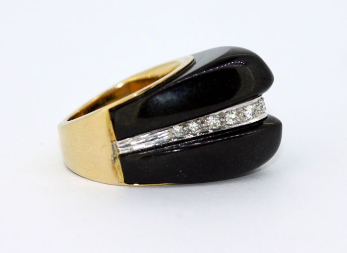 14k yellow gold ladies ring with black jade and diamonds 0 26 ct rh pinterest com