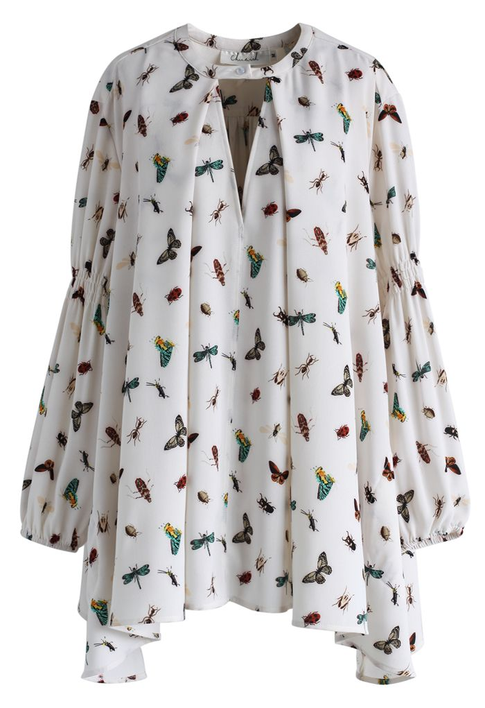 Nature Buddies Tunic in White - New Arrivals - Retro, Indie and Unique Fashion