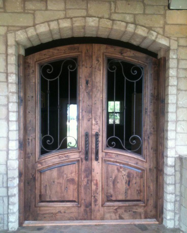 Good Wood And Wrought Iron Door: Seville Arch Top Knotty Alder Double Door Gate