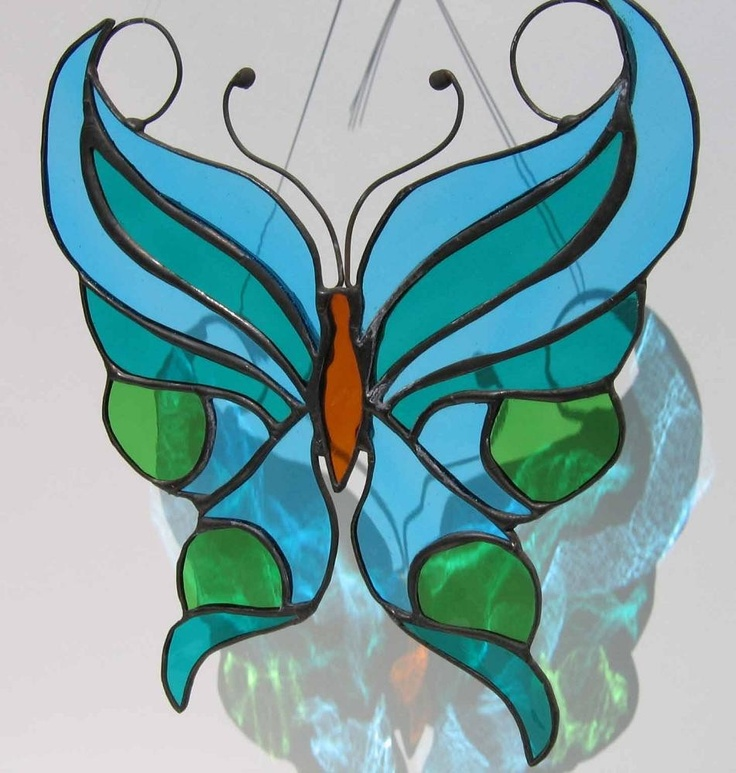 Pictures of suncatchers | Blue Green Stylized Butterfly Stained Glass Suncatcher by Nanantz