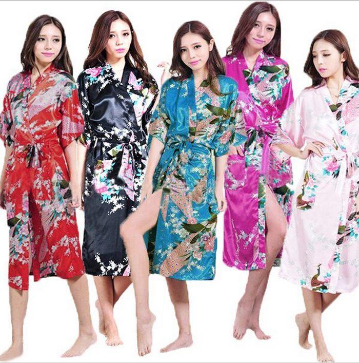 Femmes Soie Satin gants Longs De Mariage de Mariée Demoiselle D'honneur Robe Paon Peignoir Floral Kimono Robe Grande Taille Robe De Chambre Peignoir Femme