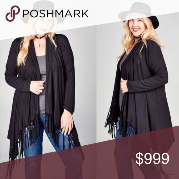 Coming Soon! Plus Size Fringe Open Cardigan Fringe is in for 2018!  Get ready to look fabulous in this beautiful plus size cardigan.  Can be dressed up or down.   Tap the heart to be alerted when this item is available to order.  Please place any questions in the comments section.    Material: rayon/spandex  Plus size open front knit trapeze cardigan with laser cut fringes at the front with shark bite hem, waterfall collar and long sleeves.   *Sizes: 1X, 2X, 3X, Color Black *Note: color may…