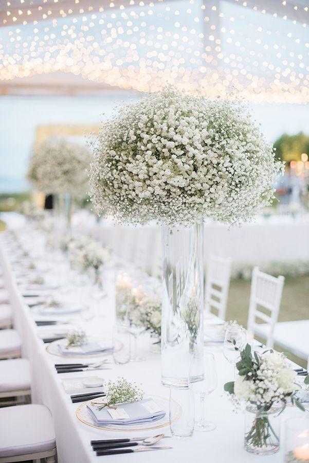 elegant all baby s breath wedding centerpieces table decor rh pinterest com